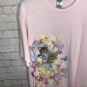 Vintage 90s Pink Glitter Cats In flowers T-shirt